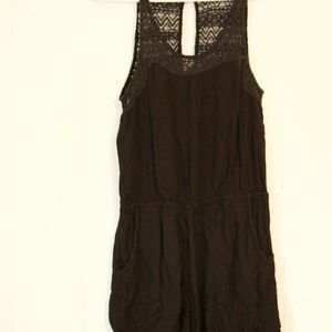 Guess Black romper with crochet detail
